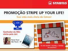 A Paola Tozzi, de São Paulo, arrasou no vídeo e foi escolhida como a melhor do mês, eleita pelo JÚRI, na Promoção Stripe Up Your Life. Relembre o vídeo que ela criou: https://www.youtube.com/watch?v=efJU5RBPTF8