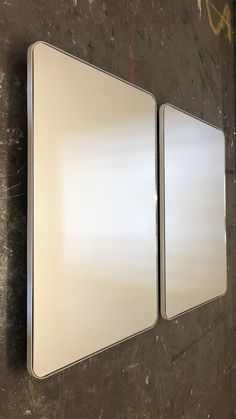 Bespoke rectangular quadris silver mirror with a white frame.  Contact us for a bespoke size or bespoke finish.  #rectangularmirror #whitemirror #silvermirror #bathroommirror White Mirror, Blue Mirrors, Console Table, Bespoke, Bronze, Brass, Elegant, Silver, Design
