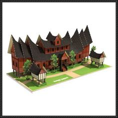This building paper model is a Rumah Gadang, the traditional home of the Minangkabau, the papercraft was designed by Julius Perdana. The architecture, cons Cardboard Paper, 3d Paper, Paper Toys, Paper Crafts, Indonesian House, Papercraft Download, Minangkabau, Paper Architecture, House Information
