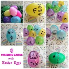 Learning Games Using Plastic Easter Eggs - 8 educational games using Easter Eggs that you can use to help your child master math and reading skills.