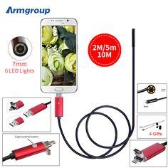 내시경 7 미리메터 2 메터 5 메터 10 메터 내시경 HD USB 안드로이드 Endoscopio 카메라 IP67 2IN1 안드로이드 내시경 USB Endoskop 검사 카메라