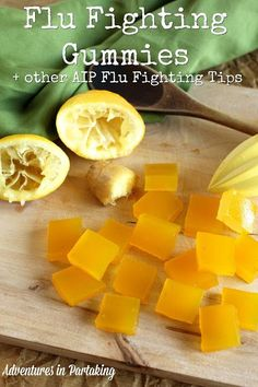 When cold and flu season hits, here are the tips and recipes you need to fight the flu AIP style. PLUS a recipe for flu fighting gummies to join the fight. These gummies are packed with ginger and lemon to help you battle the flu naturally. Gelatina Jello, Flu Food, Homemade Gummies, Homemade Gummy Bears, Fighting The Flu, Gelatin Recipes, Healthy Snacks, Healthy Recipes, Flu Remedies