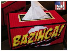 NEW Bazinga  Hand Made Tissue Box Cover Big Bang Theory by Frizman, $34.99.Totally a one off