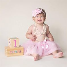 Love the first birthday picture for a little girl with BB Blocks!