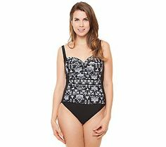 Simply Swim Queen Annes Lace Shirred Front 1-piece Suit