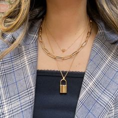 ❤ Heart & Lock Layered Chain Necklace – The Songbird Collection Layered Chain Necklace, Layered Chains, Layered Jewelry, Trendy Jewelry, Layered Gold Necklaces, Layering Necklaces, Baby Jewelry, Pearl Necklaces, Girls Jewelry