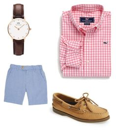 """Ass class"" by gwynkline ❤ liked on Polyvore featuring Sperry Top-Sider, Vineyard Vines and Daniel Wellington"