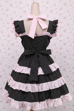 Black Polka Dot Bow Ruffles Cotton Sweet Lolita Dress, ocrun.com