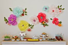 Diy easter party table and tissue paper floral wall with Paper Flower Wall, Tissue Paper Flowers, Flower Wall Decor, Diy Wall Decor, Diy Flowers, Flower Decorations, Wall Flowers, Wall Decorations, Floral Artwork