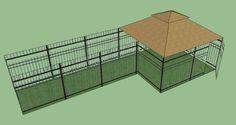 Windsor Complete and 1 Windsor Sized Dog Kennel Frame Section Number: 1 Gates Outdoor Dog Runs, Dog Kennel Designs, Kennel Ideas, Backyard Dog Area, Dog Yard, Dog Run Side Yard, Dog Pen, Pet Kennels, Dog Cages