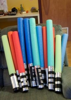 Noodle light sabers--making these for Evan's bday party this wkend. Almost 12 yrs old but still loves the sabers!!!