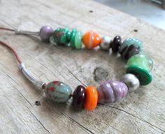 Handmade Jewelry Lampwork Necklace Colorful Artisan by CandanImrak
