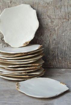 Gold leaf serving plates - Wedding Sparrow fine art bridal shop   Gift Registry