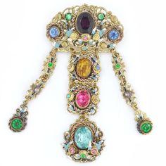 Vintage Art Deco Czech Girandole Filigree Floral Paste Glass Gilt Ornate Drop Pin Brooch | Clarice Jewellery | Vintage Costume Jewellery