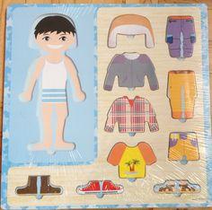 puzzle-imbraca-baietelul Montessori, Disney Characters, Fictional Characters, Puzzle, Play Ideas, Disney Princess, Ham, Bebe, Puzzles