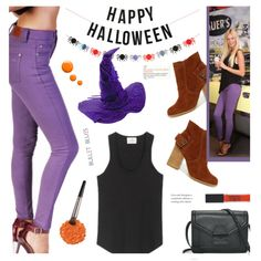 """#HappyHalloween by @bulletblues  on #Polyvore featuring #Sbicca, #ClubMonaco, #UrbanDecay, Maybelline, Topshop, Meri Meri, Bullet Blues 'Lady Slim"""" skinny purple jeans made in USA with  Illamasqua #Ethica  #coloredjeans #Americanmadeshoes @polyvore #BulletBlues #AmericanMadeJeans #AmericanMadeDenim #Eggplant #ColoredDenim"""