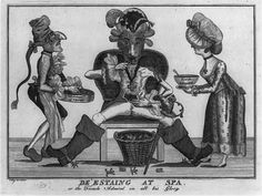De'Estaing at spa or the French Admiral in all his glory, engraved by Thomas Colley, 1780. Admiral seated and being served fricasse of frogs and soup meager.