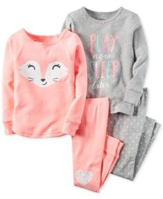 Mix and match pretty pieces for bedtime with this four-piece cotton pajama set from Carter's, featuring adorable graphics and dainty dots. | Cotton | Machine washable | Imported | Includes 2 tops and