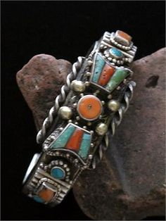 *Tibetan Tribal Cuff Bracelet was handcrafted in the early to mid of high grade silver, brass, turquoise and coral. Coral Turquoise, Turquoise Jewelry, Silver Jewelry, Vintage Turquoise, I Love Jewelry, Tribal Jewelry, Indian Jewelry, Buddha Jewelry, Tibetan Jewelry