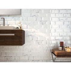Metro White Carrara Marble Effect Bevelled Tiles White Wall Tiles, Marble Wall, White Marble, Wall Tile Adhesive, Floor Grout, Contemporary Tile, Metro Tiles, Bright Kitchens, Subway Tiles