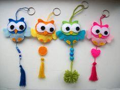 Cute keychain with owl of felt - Keychain - Hanger