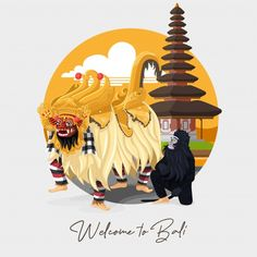 Indonesian Art, Barong, Magazine Layout Design, Game Concept Art, Cute Doodles, Balinese, Vector Free, Ikon, Greeting Cards