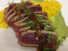 Mesquite seared ahi tuna, saffron basmati rice, avocado aioli, sweet pepper jam