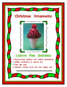 FREEBIE!!  Holiday Art - Ice Cream Cone Christmas Ornament  You're students will love making these ice cream cone Christmas ornaments! They're easy to make when you follow my step-by-step pictures and written directions! In this 8 page lesson you also get a writing activity, cute Christmas gift labels and children's picture book list. See more integrated art lessons, at my Teachers Pay Teachers store: http://www.teacherspayteachers.com/Store/Linda-Beeghly