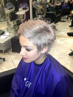 Pastel steel lavender short pixie haircut that was Kelly Osborne haircolor inspired #pastel #steel #lavender #haircolor #lavenderhair #greyhair #shorthair #kellyosborne #pixiecut