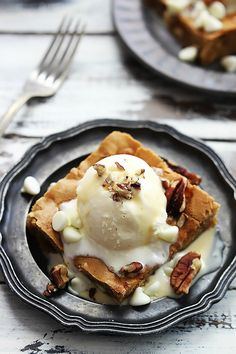 This Maple Nut Blondie with Cream Sauce made with Diamond Pecans is a delicious treat for fall - especially when it's topped with a scoop of vanilla ice cream.