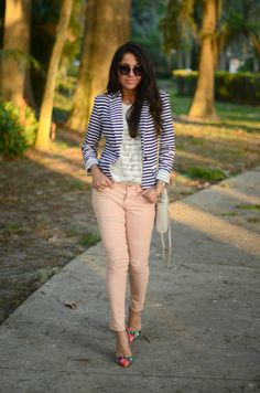A striped jacket, blush skinny jeans and floral heels