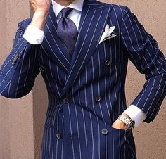 Inspired Looks For An Elegant Man : Sharp Dressed Man, Well Dressed Men, Double Breasted Pinstripe Suit, Designer Suits For Men, Mens Fashion Suits, Tailored Fashion, Suit And Tie, Gentleman Style, Wedding Suits