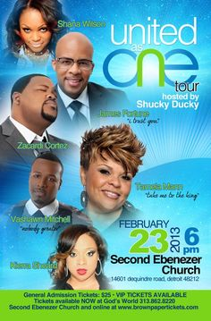 United as One Tour with Tamela Mann, James Fortune & FIYA, Vashawn Mitchell, Zacardi Cortez, Kierra Sheard and Shana Wilson. February 23, 2013 at 6 PM located at Second Ebenezer Church, Detroit, MI. General Admission is $25.  Purchase tickets online at www.brownpapertickets.com.