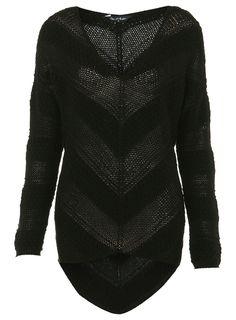 Black Stripe Asymmetric Sweater