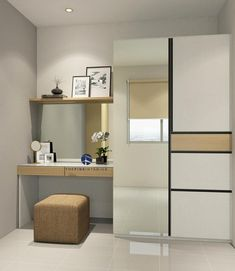 A wardrobe with the dressing table in small size apartment. Contact us : Herman 0812 8140 7556 Cupboard With Dressing Table, Corner Dressing Table, Wardrobe With Dressing Table, Bedroom Dressing Table, Built In Cupboards Bedroom, Bedroom Cupboard Designs, Small Bedroom Designs, Small Room Bedroom, Sliding Wardrobe Designs