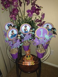First bday center pieces. Under the sea themed decor using Life is a Beach cartridge