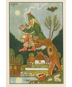 Artbohemia.cz, Josef Lada: Zlatovláska (1952) Children's Book Illustration, Illustrations, Czech Republic, Childrens Books, Film, Lady, Nature, Children's Books, Movie