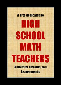 This is a resource for teachers to find lessons, activities, and assessments to supplement their materials, which is always helpful to a new teacher! High School Algebra, Math School, High School Classroom, Math Classroom, Algebra 2, Calculus, Math Lesson Plans, Math Lessons, Math Teacher