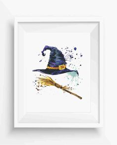 Halloween witch hat and broom witch,room decor,home decor,digital prints,instant download