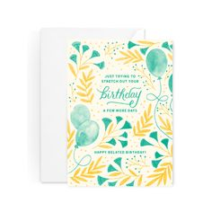 Belated Birthday Card - Birthday Card - Happy Birthday Balloons - Blank Inside by Paper Raven Co.