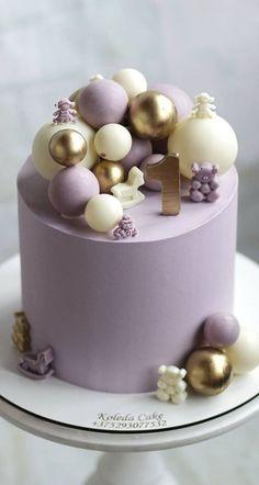 Baby 1st Birthday Cake, Blue Birthday Cakes, Elegant Birthday Cakes, Beautiful Birthday Cakes, 1st Birthday Cake Designs, Birthday Cake Decorating, Cake Decorating Tips, Pretty Cakes, Cute Cakes