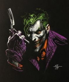 The Joker from the Gotham Crimes Portfolio by Gabriele Dell'Otto Dc Comics, Batman Comics, Batman Vs, Batman Suit, Gotham Batman, Joker Pics, Joker Art, Black Spiderman, Amazing Spiderman