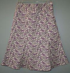Gap stretch light tan purple floral print a line skirt womens size 0 #Gap #ALine