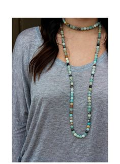 Beaded double wrap Amazonite Necklace by CraftByKraft on Etsy