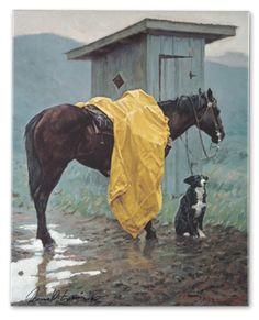 """Rainy Days and Mondays"" print... When you gotta go, you gotta go."