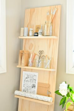 Scandi Home: DIY Shelf System for the Study (I think I'd prefer to mount it to the wall vs. the leaning shown, but I do love how it looks like a large floating shelf unit - like the look of the shelves on the plywood backdrop) Diy Zimmer, Scandi Home, Shelf System, Diy Casa, Ideas Para Organizar, Diy Holz, Diy Interior, Deco Design, My New Room