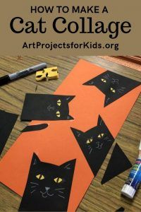 Learn how to make a Cat Collage with this fun and easy art project for kids. #halloween