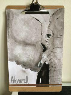 Akvarell av Malin på JM Kreater Elephant, Batman, Watercolor, Superhero, Artwork, Fictional Characters, Create, Pen And Wash, Watercolor Painting