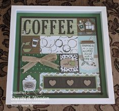 This photo is the creation by another demonstrator, I will swap the photo when I finish my own. Credit to Sherahl A. Weadon for creation in photo and inspiration. Box Frame Art, Shadow Box Frames, Cafe Display, Boxes And Bows, Craft Show Ideas, Stamping Up Cards, Frame Crafts, Coffee Cafe, Homemade Cards