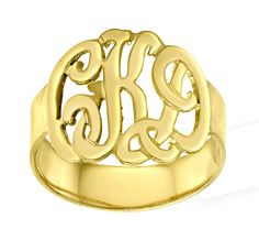 Designer Personalized Initials Ring (Order Any Name) - Sterling Silver and 24K gold overlay.. $69.00, via Etsy.